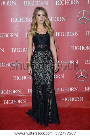 PALM SPRINGS, CA - JANUARY 2, 2016: Actress Amber Heard at the 2016 Palm Springs International Film Festival Awards Gala - stock photo