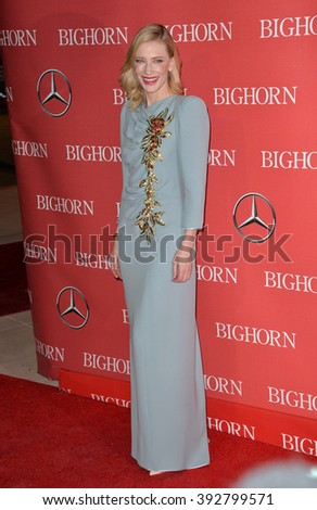 PALM SPRINGS, CA - JANUARY 2, 2016: Actress Cate Blanchett at the 2016 Palm Springs International Film Festival Awards Gala - stock photo