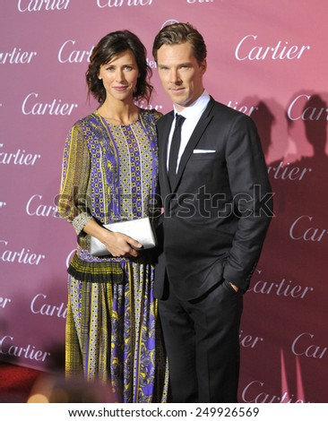 PALM SPRINGS, CA - JANUARY 6, 2015: Benedict Cumberbatch & fianc���©e Sophie Hunter at the 2015 Palm Springs Film Festival Awards Gala at the Palm Springs Convention Centre.  - stock photo