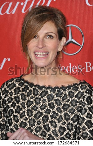 PALM SPRINGS, CA - JANUARY 4, 2014: Julia Roberts at the 2014 Palm Springs International Film Festival Awards gala at the Palm Springs Convention Centre.  - stock photo