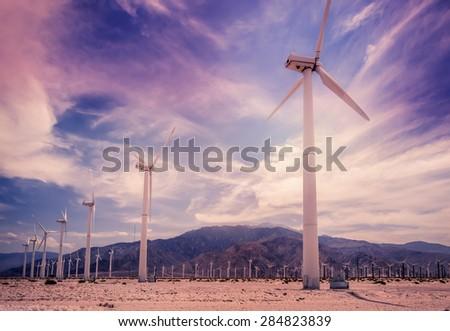Palm Springs,California wind turbines - stock photo
