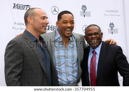 PALM SPRINGS - JAN 3:  Peter Landesman, Will Smith, Dr. Bennet Omalu at the Variety Creative Impact Awards And 10 Directors To Watch Brunch at the Parker Hotel on January 3, 2016 in Palm Springs, CA - stock photo
