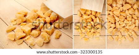 palm sugar isolated on a wooden background