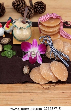 Palm sugar sweet of traditional for cooking