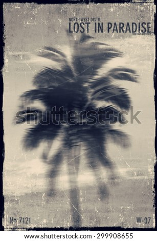 PALM TREE / artwork in painting style - stock photo