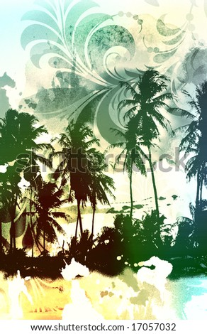 palm tree beach scenic with airbrushed floral scroll leaves and distressed texture - stock photo