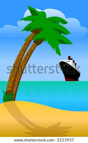 Palm tree beach with cruise liner