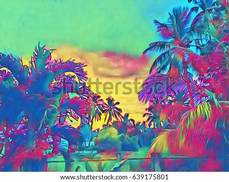 Palm Tree In Tropical Garden Fantastic Sunset On Exotic Island Beautiful Nature