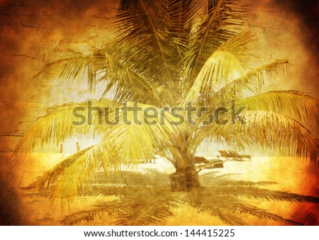 Palm tree on a sandy beach - Maldive Islands - Vintage styled picture with patina texture - stock photo