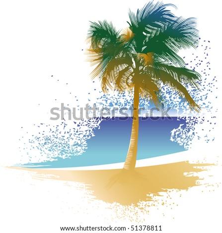 palm-tree on the idyllic tropical beach, raster version - stock photo
