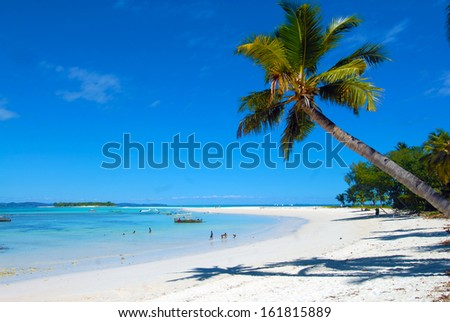 Palm tree on white sand beach and blue lagoon, in the paradise island of Nosy Iranja island, in Madagascar - stock photo