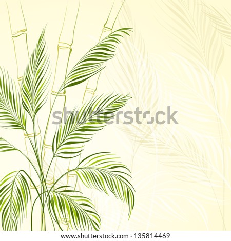 Palm tree over bamboo forest.  Illustration. - stock photo