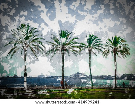 Palm trees along the coast in Palma de Mallorca at beautiful sunny day. Image of tropical vacation and sunny happiness. Serene summer photo. Modern painting, background illustration. - stock photo
