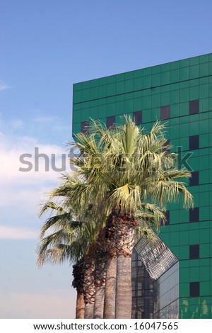 Palm trees and an ultra modern building in West Hollywood, Los Angeles, California. - stock photo