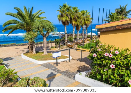 Palm trees and restaurant tables on coastal promenade in Puerto de la Cruz town, Tenerife, Canary Islands, Spain
