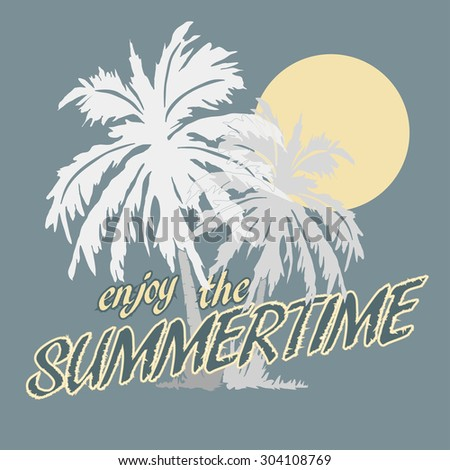Palm trees and Sun on the Beach, Silhouette. - stock photo