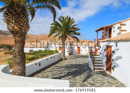 Palm trees and typical traditional houses in Valle de Santa Ines village near Betancuria with mountains in the background, Fuerteventura, Canary Islands, Spain  - stock photo