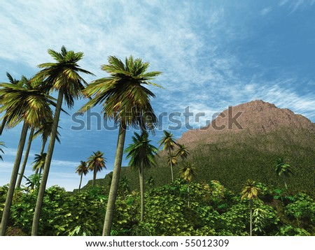 Palm trees and vegetation with small green and brown mountain blue sky.
