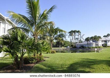 Palm trees by a lush green lawn at a resort in Naples, Florida - stock photo