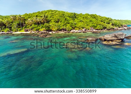 Palm trees entering the ocean on tropical island sea landscape - stock photo