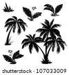 Palm trees, flowers and grass, black silhouettes on white background - stock vector