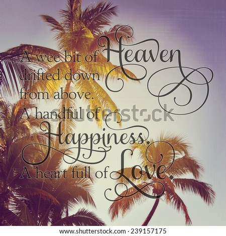 palm trees in the evening with quote - stock photo