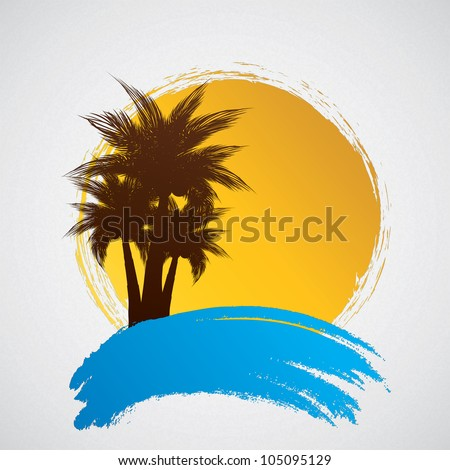 Palm trees on a grunge background - stock photo