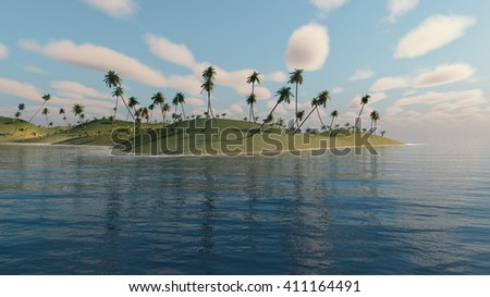 Palm trees on a uninhabited island. 3D Rendering. - stock photo