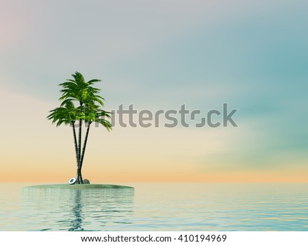 Palm trees on an island in middle of the ocean - 3D render - stock photo