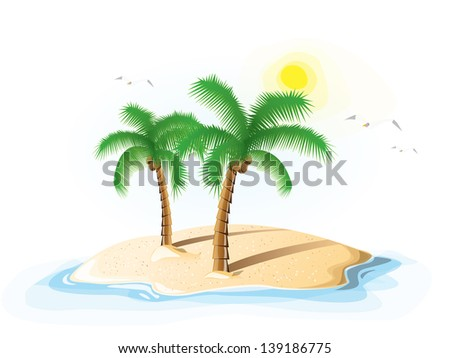 Palm trees on an ocean island