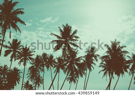 Palm trees on tropical beach, vintage toned and retro color stylized - stock photo
