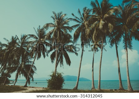 Palm trees on tropical coast and island on horizon, vintage stylized