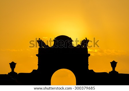 Palm trees silhouette on sunset tropical beach. - stock photo