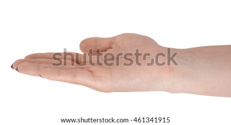 Palm up giving something, natural woman's skin, red manicure. Isolated on white background.
