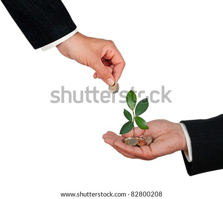 Palm with a sapling growing from pile of coins