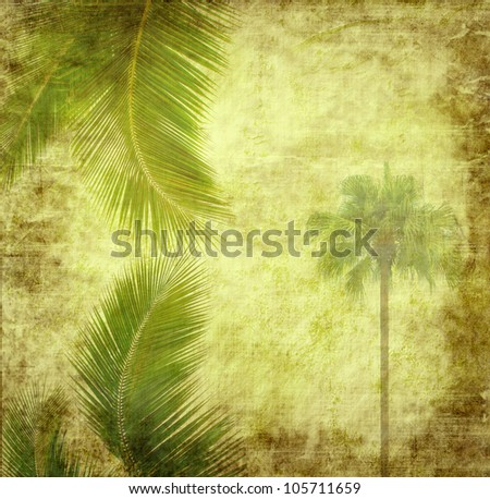 palm with set of abstract painted background - stock photo