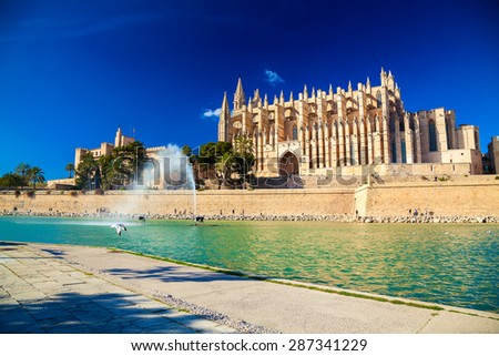 Palma Cathedral also known as La Seu, Palma de Mallorca, Spain - stock photo