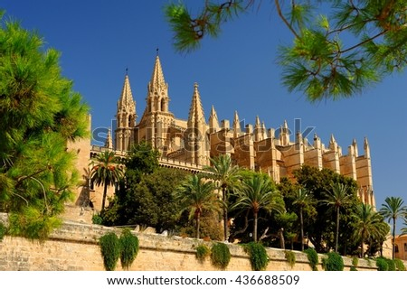 Palma Cathedral City Walls in Palma de Mallorca Balearic islands Spain - Stock Image - stock photo