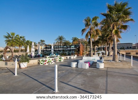 PALMA DE MALLORCA, BALEARIC ISLANDS, SPAIN - DECEMBER 22, 2015:Animabeach restaurant and bar Mediterranean oceanfront on a sunny day on December 22, 2015 in Palma de Mallorca, Balearic islands, Spain