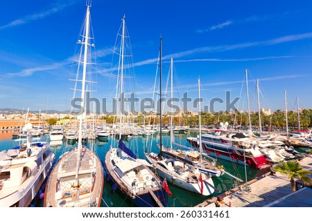 Palma de Mallorca port marina in Majorca Balearic island of Spain - stock photo