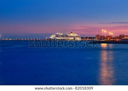 Palma de Mallorca port with night glowing light in cruise boat - stock photo