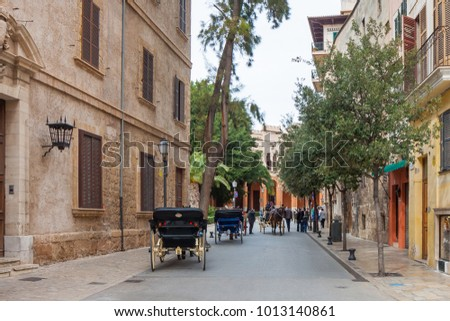 Palma De Mallorca, Spain - March 25, 2013: Touristic carriage traveling around the street in old city of Palma de Mallorca, Spain