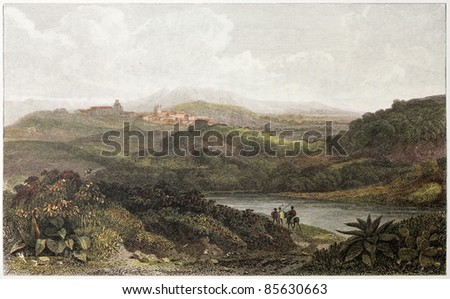 Palma di Montechiaro old view, Sicily. Created by De Wint and Byrne, printed by McQueen, publ. in London, 1821. Ed. on Sicilian Scenery, Rodwell and Martins, London, 1823 - stock photo