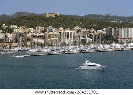 Palma Harbour & Bellver Castle of Majorca, the largest island of Spain, Europe on the Mediterranean Sea and part of Balearic Islands archipelago - stock photo