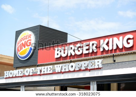 PALMA, MALLORCA, AUGUST 4 , 2015: Burger King restaurant in Palma de Mallorca