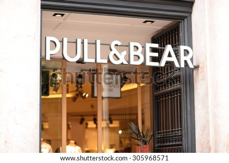 "PALMA, MALLORCA - JULY 29, 2015: Shop and the logo of the brand ""Pull & Bear"" in Palma de Mallorca."