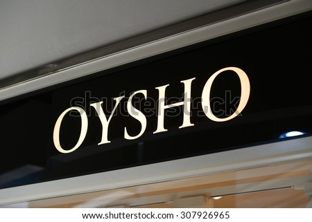 "PALMA, MALLORCA - JULY 30, 2015: The logo of the brand ""Oysho"" in Palma de Mallorca."