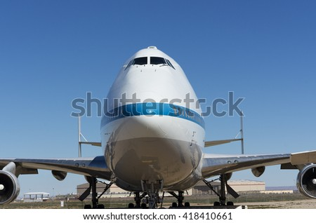 PALMDALE, CA/USA - FEBRUARY 7, 2016: Shuttle Carrier Aircraft (Boeing 747, N911NA) at the 'Joe Davies Heritage Airpark'. Two modified Boeing 747s were used by NASA to transport Space Shuttle orbiters.