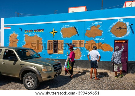 PALMEIRA, CAPE VERDE - DECEMBER 12, 2015: Cabo Verde map on a wall in Palmeira. Tourists checking the route - stock photo