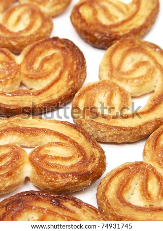 Palmeras - sweet puff pastry - stock photo